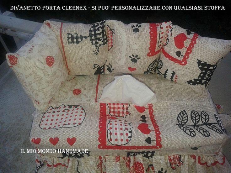 DIVANETTO PORTA CLENEEX IN STOFFA GATTINI A SOLI € 13.00