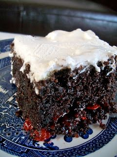 Black Forest Cake.  Easy to make with just  Ingredients:  1 box chocolate cake mix (any variety) 2 and 1/2 cups mini marshmallows 1 can cherry pie filling 1 package Dream Whip, or 2 cups fresh whipped cream or Cool Whip
