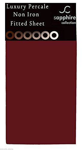 From 6.49 Fitted Sheet Non Iron Percale 180 Thread Count Polycotton Plain Fitted Sheets (double Burgundy)