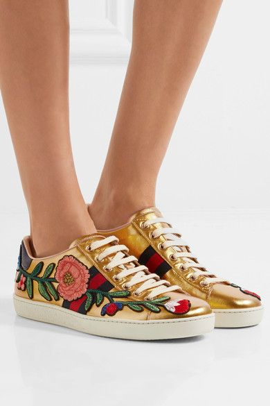 Gucci - Ace Watersnake-trimmed Appliquéd Metallic Leather Sneakers - Gold - IT41.5
