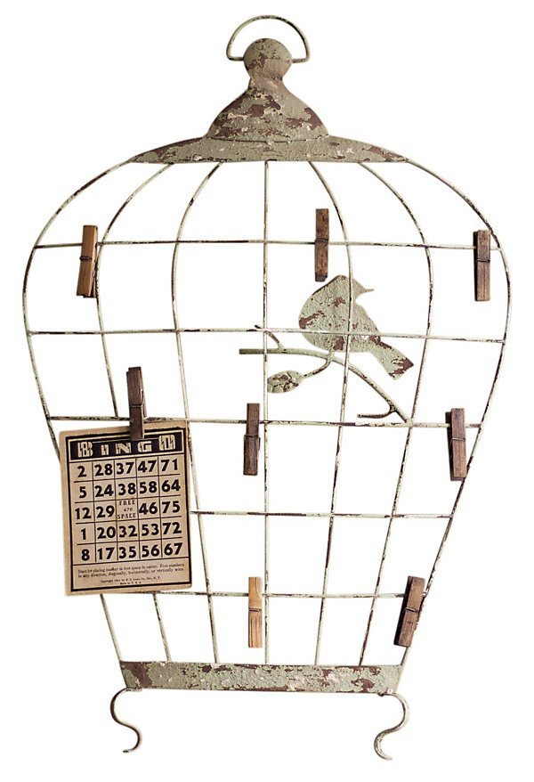 One Kings Lane - Country Fresh - Birdcage Wall Hanging w/ Photo Clips