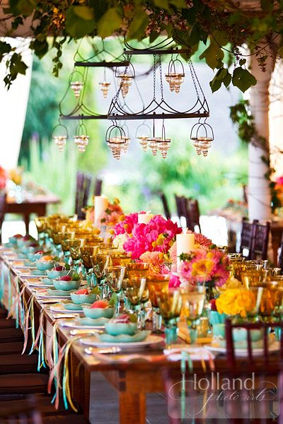 colorful & chic table setting - Holland Photo Arts #wedding #reception