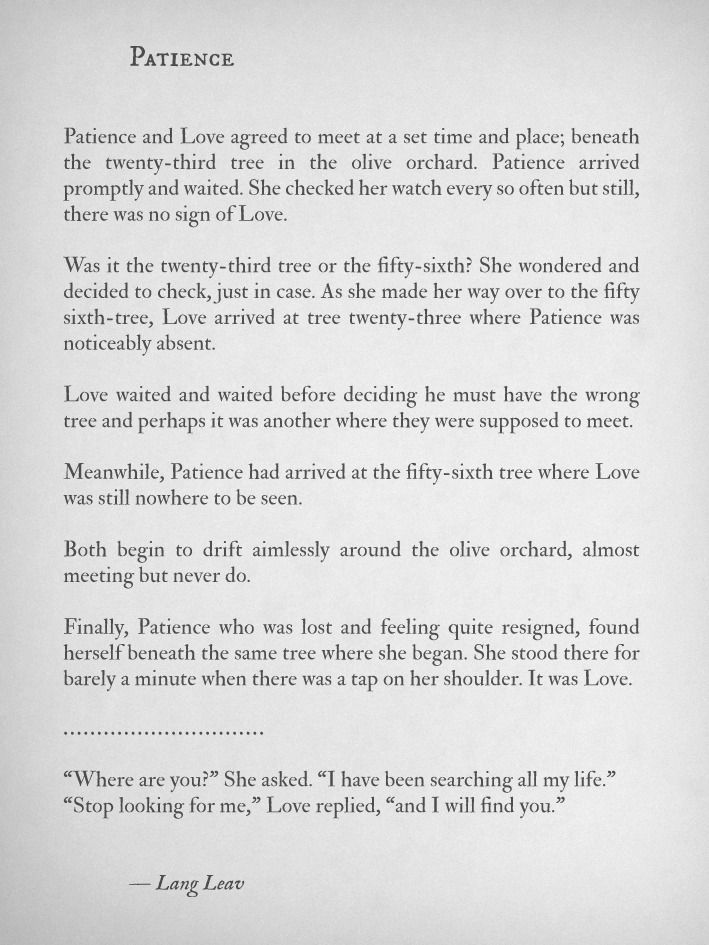 Lang Leav. Patience and Love