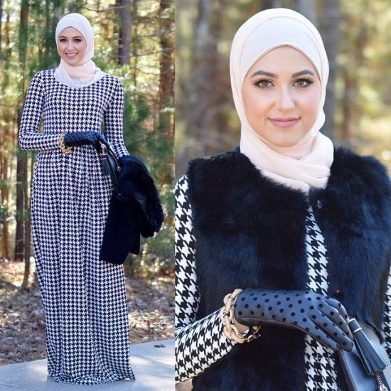monogram maxi dress, Winter hijab street styles by leena Asaad http://www.justtrendygirls.com/winter-hijab-street-styles-by-leena-asaad/