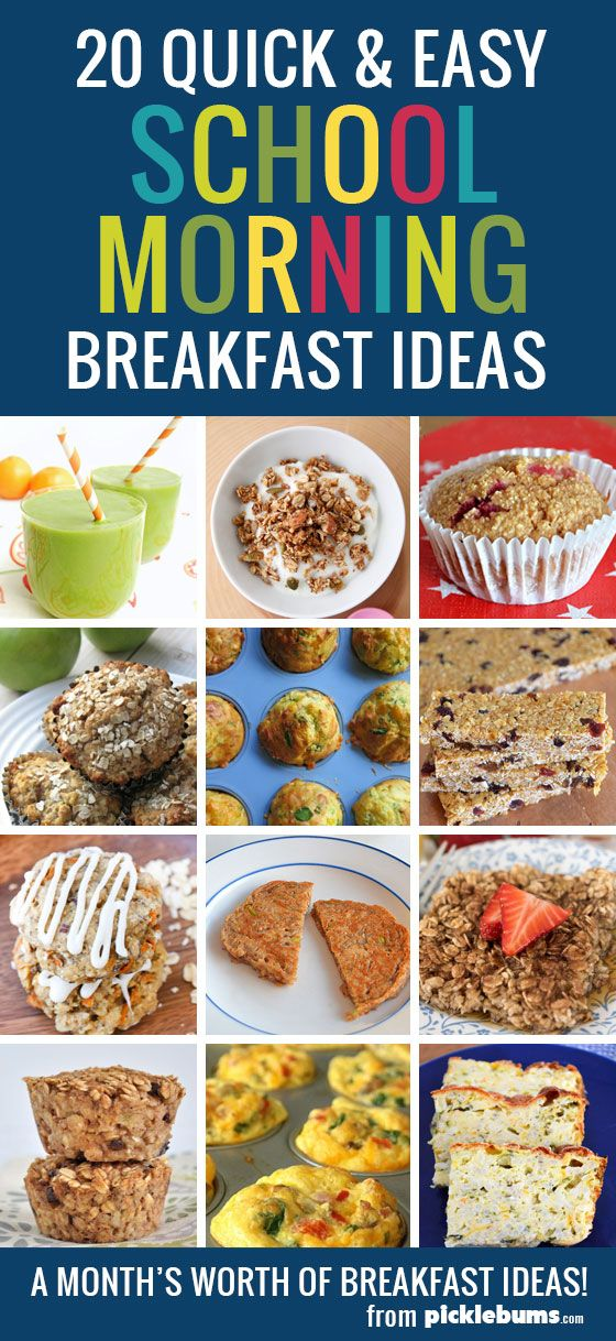 20 quick and easy school morning breakfast ideas - a month's worth of homemade, real food, breakfast ideas for busy school mornings.