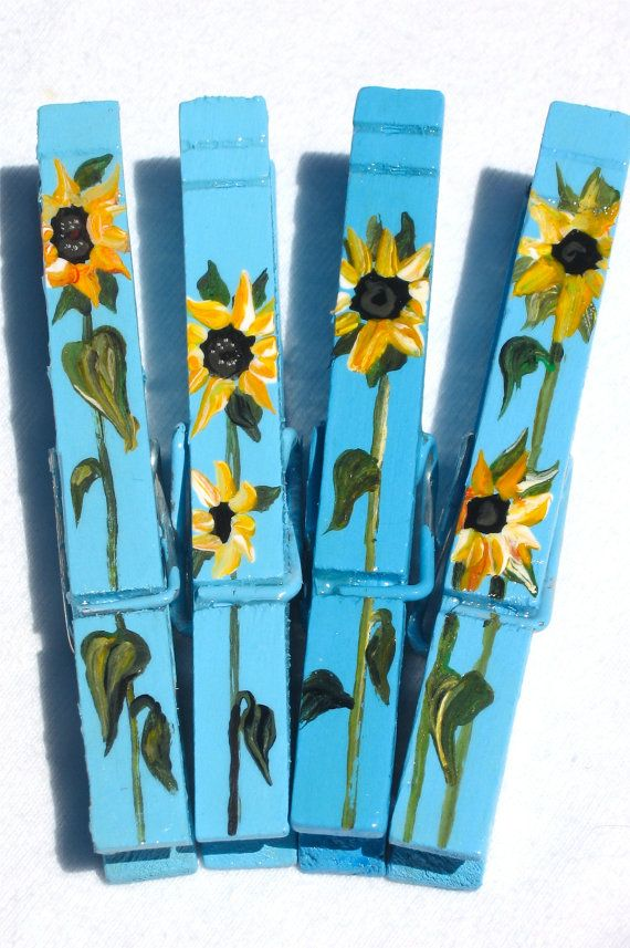 SUNFLOWERS hand painted magnetic clothespin set by SugarAndPaint, $10.00