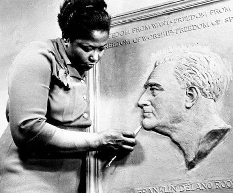 """""""Selma Burke's commissioned sculpture of President Roosevelt is on every American dime!"""" Dorothy Brangman Selma Burke (1900-1995) African American sculptor and educator who founded two art schools. In 1940 she opened the Selma Burke School of Sculpture in New York City and the following year graduated with a Master of Fine Arts degree from Columbia …"""