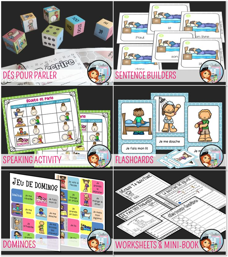 $ French Daily Routine Unit | Dice, Dominoes, Sentence Builders, Speaking Activity, Flashcards, Worksheets & Mini-Book!