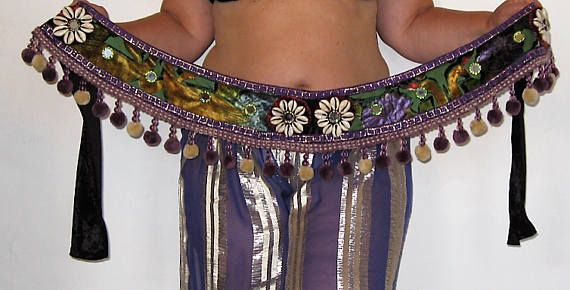 Tribal belt Tribal belly dance belt Belly dance belt Purple