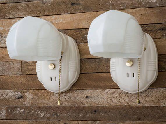 Vintage Rewired Porcelier Porcelain Ceramic Wall Lights