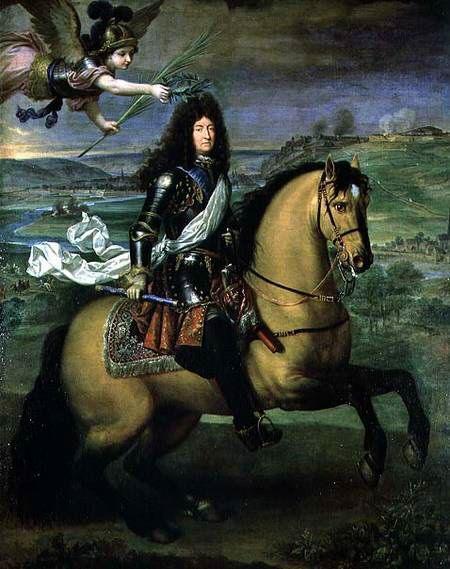 Pierre Mignard - Equestrian portrait of Louis XIV crowned by Victory, dated1692 @ Chateau de Versailles - France