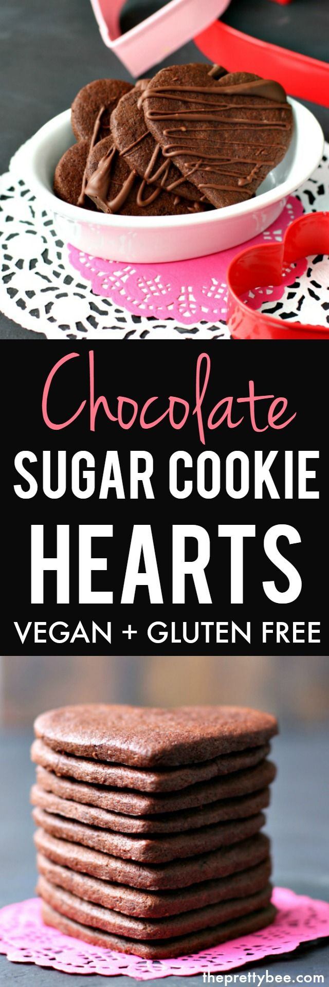 Make these gluten free and vegan chocolate sugar cookie hearts for your loved ones this Valentine's Day! A chocolate drizzle on top makes these cookies extra special. #vegan #valentinesday