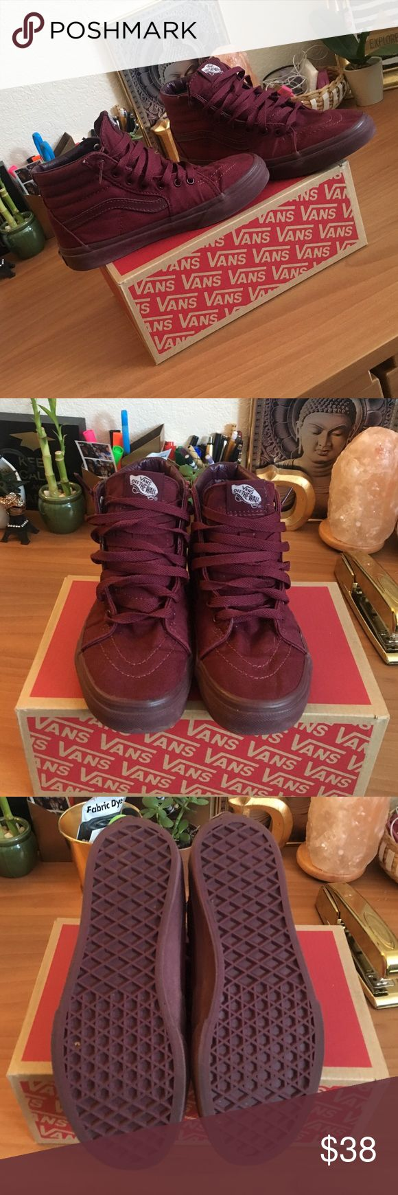 Maroon vans! Absolutely NOTHING wrong with them just a little snug on my feet. They are still in great condition. Size 3 in kids but fits a woman's 5.5 Vans Shoes Sneakers