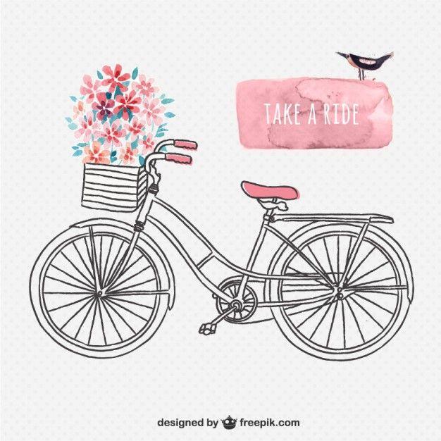 Dibujado a mano bicicleta retro