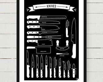 Types of Knives kitchen print scandinavian design by Follygraph