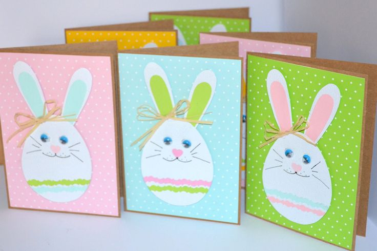 #Easter Greeting Cards Pack #Easter Bunny Cards Set of 6 #Easter Rabbit Card #Easter Kids Card #Blank Cards Handmade #Handmade Greeting Cards by KateLandLovemade on Etsy