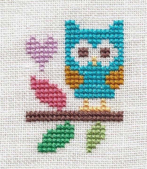 "Design - ""Blue Owl""  (freebie)   Designer - The Stitching Shed   Fabric - 32 count white linen   Fibers - DMC - 2 strands over 2 threads ..."