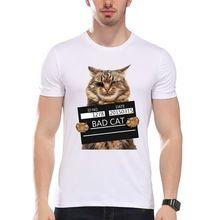 TEEHEART Bad Cat Print Camiseta Fresca del Departamento de Policía de Los Hombres Gato t shirt men summer Blanco camiseta inconformista Camisetas la062(China (Mainland))