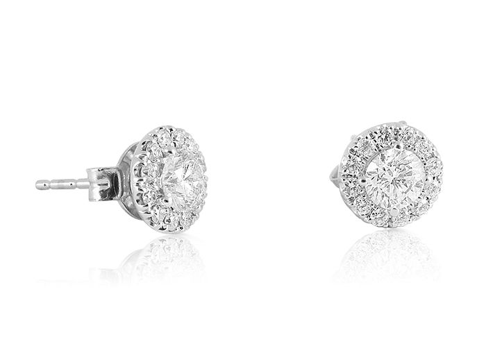 671ecc18a Alson Signature Collection 14K White Gold Diamond Stud Earrings, Featuring  2 Round Diamonds =1.00ct Total Weight, H Color, I1 Clarity, Accented with  28 ...