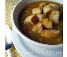 Split Pea soup with ham.  I just put this in the crock pot for dinner tonight!!  Hope it's yummy!!  4/10/12 Cindy~