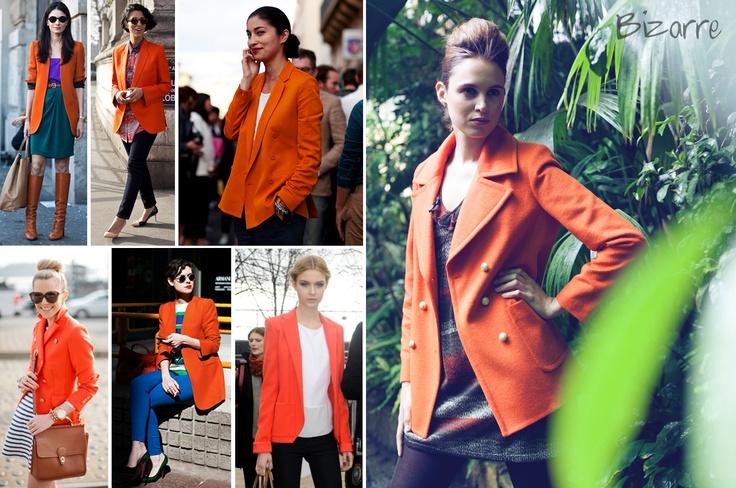 Street Trend:   15. Chaqueta o Blazer oversized naranja  Orange oversized coat, blazer, fashoin, woman, bogota