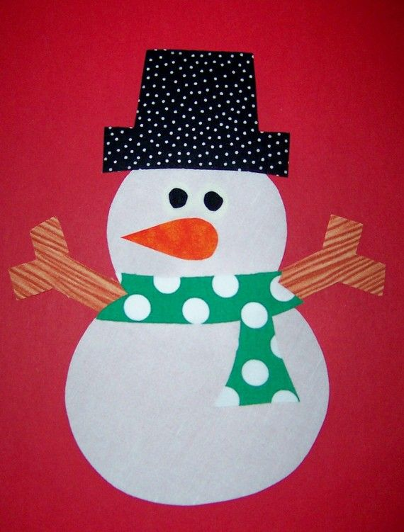 Iron On Fabric Applique LARGE SNOWMAN Green Scarf by KinderCuts - snowman template