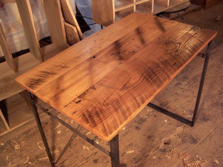 Reclaimed wood computer desk with industrial metal base
