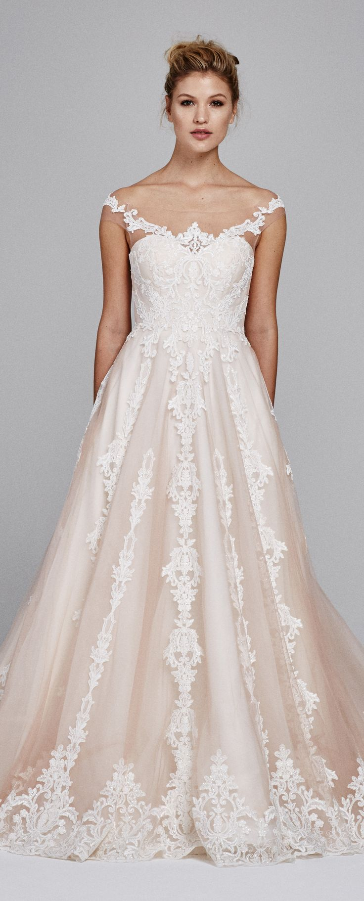 Blush Wedding Dress by Kelly Faetanini Fall 2017 | Off the shoulder sweetheart silk organza ballgown with sequin sprayed embroidered bodice and vertical embroidery lace on skirt.