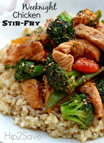 Weeknight Chicken Stir-Fry. Really good and easy enough to put together after work. No weird ingredients and a good way to use leftover veggies in the fridge.