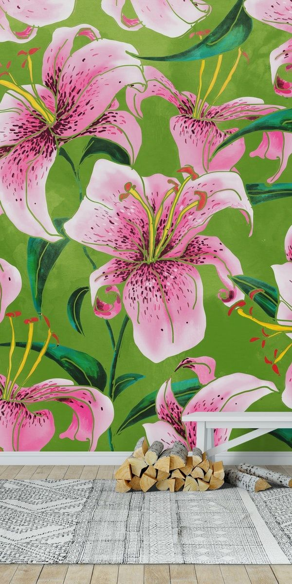Tiger Lily Wall Mural From Happywall Floral Wallpapers Bloom Green Pink Blossom Lily Tiger Mural Wallpaper Lea Lily Wallpaper Wall Murals Tiger Lily
