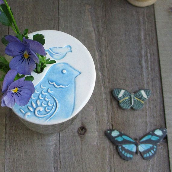 Mason jar flower frog lid blue and white by catherinereece