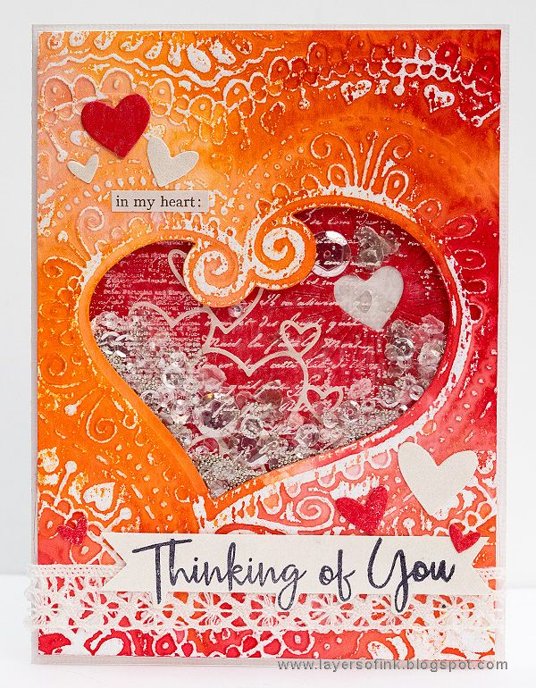 Layers of ink - Layered Valentines Shaker Card Tutorial by Anna-Karin Evaldsson. Made for the Simon Says Stamp Monday Challenge blog with a resist technique using Rangers Distress Micro Glaze together with a Sizzix Impresslits folder.