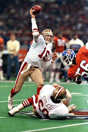 Joe Montana...Super Bowl XXIV | January 28, 1990 – Joe Montana won his third Super Bowl MVP and the 49ers won their fourth Super Bowl, crushing the Denver Broncos 55-10. It still is the biggest margin of victory in a Super Bowl and the most points scored by one team in a Super Bowl. Montana passed for 297 yards and 5 touchdowns.  Bad day for me being bronco fan; but my mom being a ninner fan and Montana fan was happy happy!
