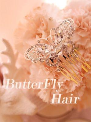 Korea feminine clothing Store [SOIR] butterfly sat Hair / Size : FREE / Price : 17.63 USD #partylook #Fashion #party #dailyfashion #koreafashion  #tiara #hairaccessory #accessory #hair