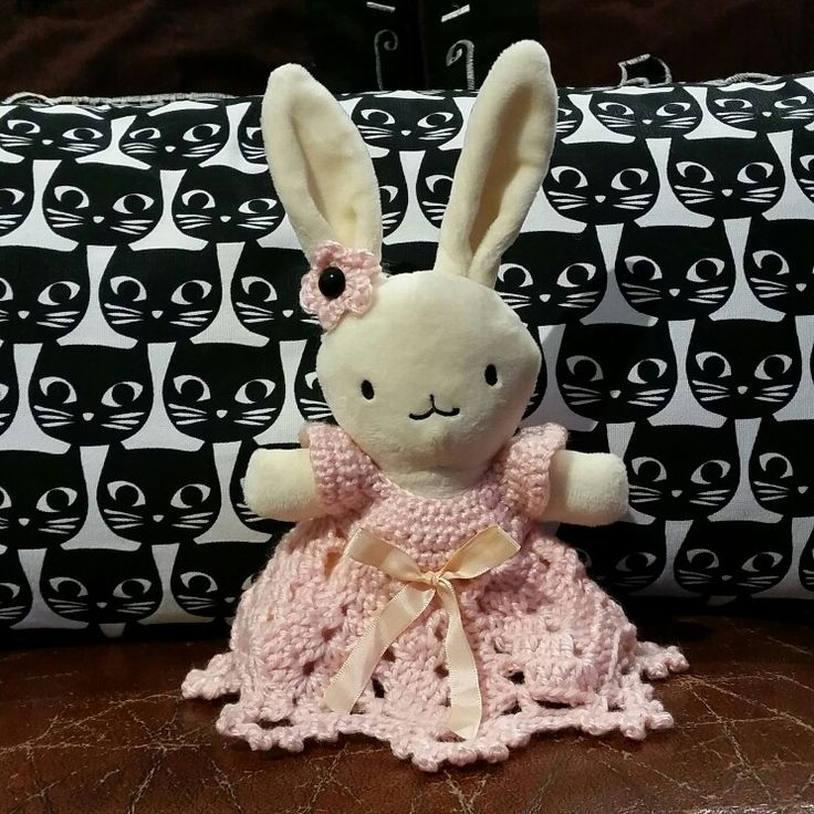 Crochet dress on bunny