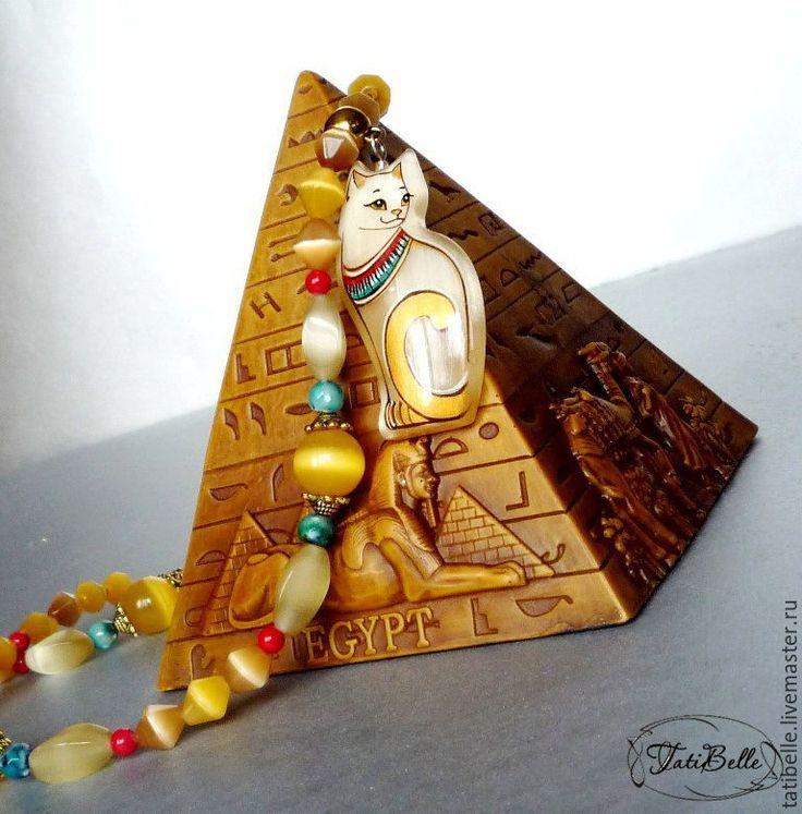 """Купить Колье """"Египтянка"""" из кошачьего глаза - бусы из камней, колье с камнями, колье ручной работы"""