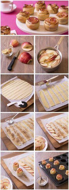 Tartelettes rosaces aux pommes: technique en images pas à pas DIY