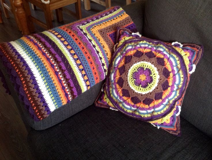 Sophies Garden cushion and Stitch Sampler throw, a very happy couple!