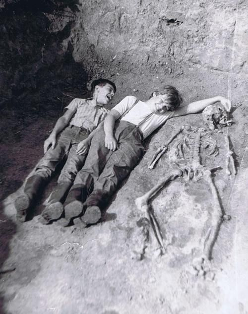 "On Monday, December 13, 1920, it's reported that brothers Jason and Jimmy Garret found a ""treasure map"" stuck to a tree with a knife. Based on their parent's account, the boys weren't believed and were promptly sent outside. The above picture was slipped under the front door of the Garret farmhouse one year later. No map was ever found and neither boy was ever seen again."