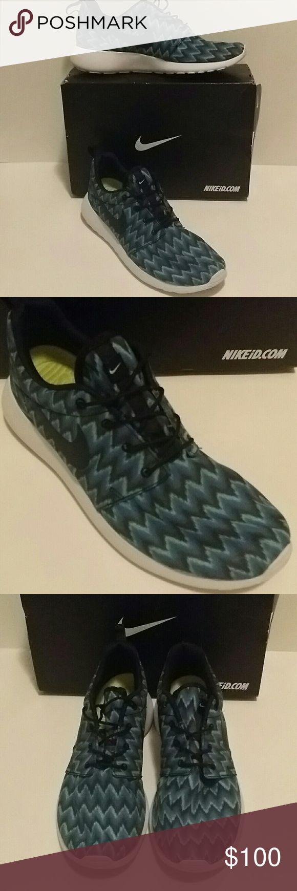 Nike Custom Blue White and Black Chevron Tennis Nike Custom blue, white, black Chevron tennis. WORN ONCE Nike Shoes Athletic Shoes