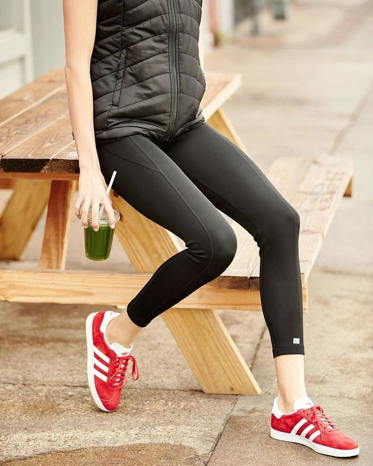 """Paneled leggings with logo detail at left hem. Wide banded waist; high rise. Formfitting legs. Cropped at ankle. Pull-on style. Nylon/polyester/spandex. Nylon/spandex inner short. Machine wash. Imported. Alala """"City"""" down-filled sports vest with faux-leather (polyester/polyurethane) back yoke and trim. Stand collar; full-zip front. Full shoulder coverage. Zip pocket at chest. Side slip pockets. Arched hem. Nylon. Imported. adidas suede low-top sneaker. Signature 3-Stripes on sides. 1"""" flat…"""