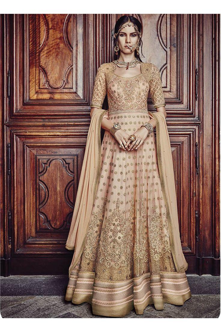 Beige Silk Bridal Wear Heavy Embroidery Work Anarkali Suit