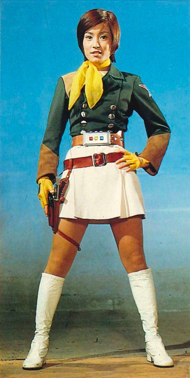 Rei Maki in her full SSI gear from SUPER ROBOT RED BARON, 1971.