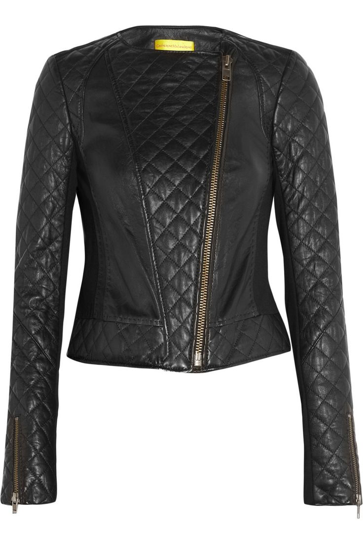 Quilted leather and stretch-ponte jacket- ♥