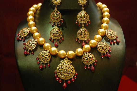 Alyza pearls natural south sea pearls chand tika necklace set with real ruby awaize to make you look royal