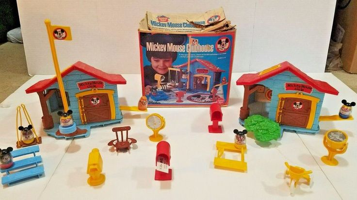 1976 MICKEY MOUSE CLUBHOUSE Weebles Playset Hasbro Romper Room #582 & 7 Weebles #Hasbro