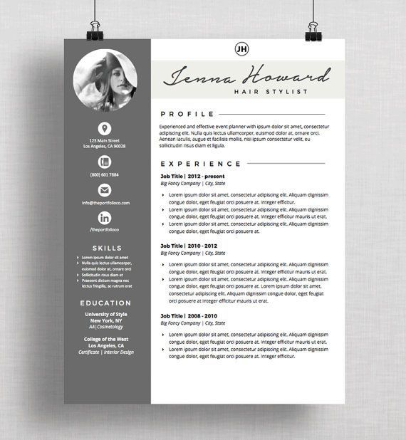 professional creative resume template the palisades instant download cv download resume template