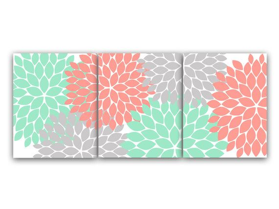 Home Decor Wall Art, Coral and Mint Flower Burst Art, Bathroom Wall Decor, Coral Bedroom Decor, Nursery Wall Art - HOME81