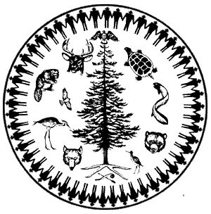 Six Nations Iroquois -Haudenosaunee Tree of Peace/Life emblem with circle of chiefs, and animal clan symbols of Oneida, Onondaga, Cayuga, Seneca, Mohawk, and Tuscarora. Cherokee are a related southern Iroquois-speaking tribe.
