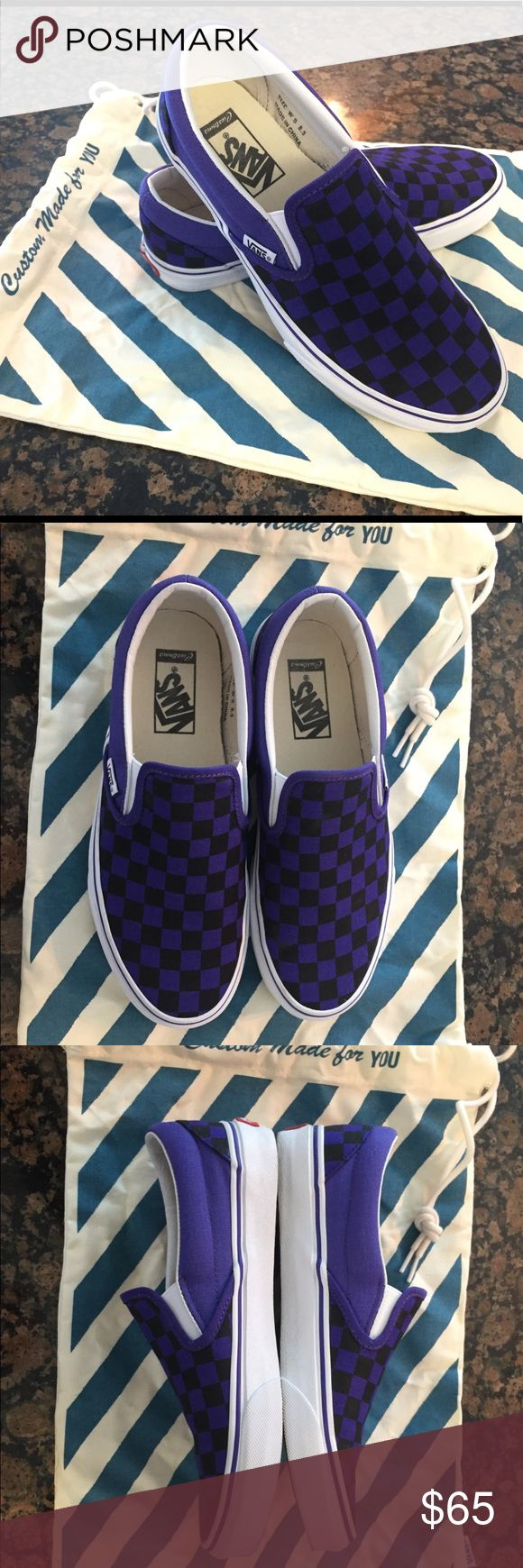 Vans Classic Checkerboard Slip-On Purple These Custom Vans Classic Slip-On in Liberty Purple and Black have a low profile, slip-on canvas upper with all-over checker print, elastic side accents, Vans flag label and Vans original Waffle Outsole.   Women's size 8.5  I wore these shoes once - they are in nearly like new condition. Vans Shoes Sneakers
